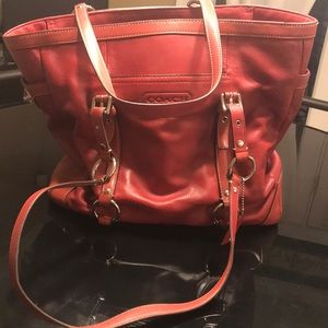 Red Leather Coach handbag.
